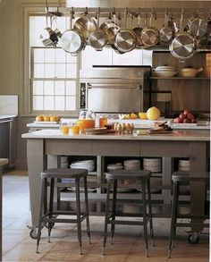 This is a little bit like my kitchen is going to look like. The center island and the pot and pan rack is close to what I have.