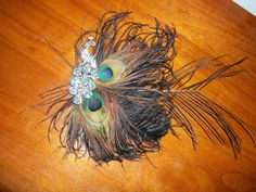peacock pin with feathers attached  great by ladybugladyjjjsalon, $75.00