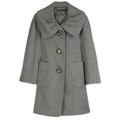 Development Wool swing coat $390  Black-and-white hounds tooth swing coat with pleated shawl collar. Developement coat has flared sleeves, two patch pockets on front and oversized marbled button fastenings on front.