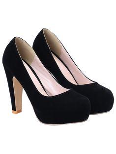 Zapatos de tacón alto plataforma escondida -negro 22.38