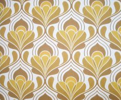 Vintage Wallpaper Roll - Brown Hourglass Retro Lines 1970s