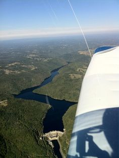 Chastang Dam & the Dordogne River #FromTheAir, flowing from the Massif Central
