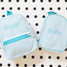 """Peekawhoo.com on Instagram  """"Sweet personalized Backpack and Gumdrop Lunch  bag sets in adorable Seersucker. ❤  seersucker  backpack  lunchbox ... 4ac98ee8d484c"""