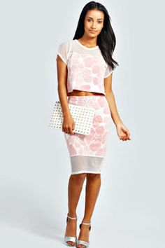 Serena Floral Net Hem Midi Skirt