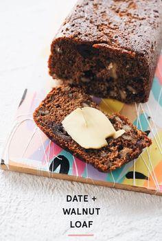 Date & Walnut Loaf Recipe - Fat Mum Slim Not fan-force oven Loaf Recipes, Baking Recipes, Cake Recipes, Dessert Recipes, Date Recipes Thermomix, Fruit Loaf Recipe, Date And Walnut Loaf, Sticky Date Pudding, Healthy Cake