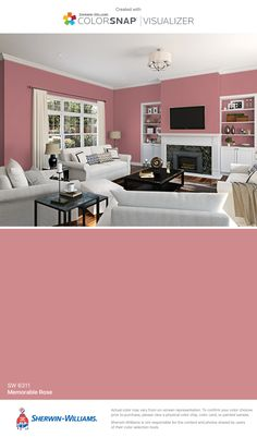 I found this color with ColorSnap® Visualizer for iPhone by Sherwin-Williams: Memorable Rose (SW 6311).