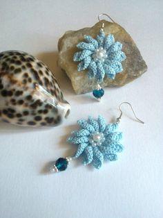 orecchini a uncinetto orecchini a fiore filo sfuma di L'Alabastro Creazioni su DaWanda.com