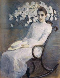 Portrait de la princesse la Ligne, 1900, Paul César Helleu. French (1859 - 1927) - Pastel -