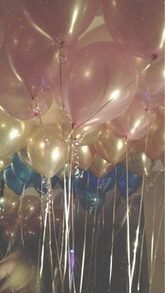 balloons, blue, and gold image