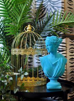 Teal Flocked Classical Artemis Bust Quirky Decor, Unique Home Decor, Wild Nature, Artemis, Flocking, Teal, Statue, Retro, Retro Illustration