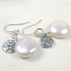 Coin Pearl Earrings with Sterling Sand Dollar by ArtfulHandJewelry, $42.00