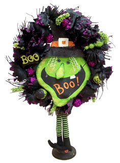 Wicked Witch Wreath designed by Karen B., A.C. Moore Erie, PA #wreath #halloween
