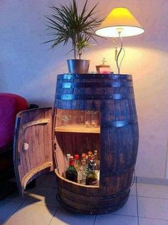 Bar in a whiskey barrel whiskey barrel table, wine barrel bar, whiskey barrels, Barrel Bar, Barrel Table, Bourbon Barrel, Oil Barrel, Diy Casa, Woman Cave, Man Room, Home Projects, Diy Furniture