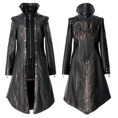 Metallic Rust Black Leather Cyber Goth Jacket Coat Windbreaker Men SKU-11401205