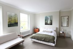 Green & grey natural toned bedroom Photo location: Crescent Grove SW4 | Light Locations