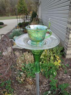 Tea Cup Bird Feeders | Green Tea Cup Bird Feeder by MyCustomBirdFeeder on Etsy