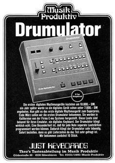 E-MU Drumulator, 1983 German Advertisement Drum Machine, Music Images, Band Photos, Cd Cover, Types Of Music, Emu, Vintage Music, Growing Up, Musicals