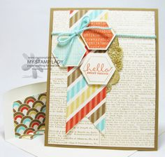 Six Sided Sampler Handmade Card With Dictionary Background Stamp. Pair the Six Sided Sampler Hexagons with the Retro Fresh Suite to have a fun retro card. www.mystamplady.com