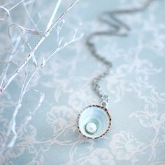 Sea shell jewelry pearl in the blue limpet shell necklace ocean jewelry, bridal jewelry Beach wedding necklace, gift under 30