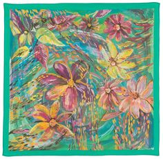 Hand Dyed Silk Scarf in Green Flowers by LuxoSilk on Etsy
