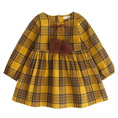 Autumn Girls Clothes Preppy Style Red and Yellow Plaid Bow Baby For 3-8 Years Who like it ? Get it here