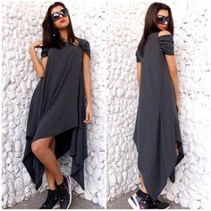 Maxi Asymmetrical Dress / Plus Size Maxi Dress / от Teyxo на Etsy
