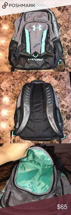 NEW Under Armour Backpack!  Bought this brand new and wore it to a few classes before I realized it wasn't quite what I needed. It is SO cute and unique though!! Black and white houndstooth with turquoise accents. Very large and durable; good to hold several textbooks and laptop. 1st pocket- open and goes as deep as the bottom of the backpack. 2nd pocket- lined with a soft material to hold items such as phone or sunglasses. 3rd pocket- large, open, and has pockets for pens. 4th pocket…