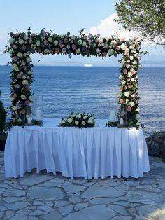 Colourful Arch at a Wedding Ceremony!  #arch #arches #colourfularch #wedding #weddingceremony #flowers #flowerdesign #flowerdecoration #corfu #αψιδα #γαμος #στολισμοςγαμου #λουλουδια #πολυχρωμα #κερκυρα #rizosgarden Wedding Videos, Post Wedding, Wedding Arches, Wedding Flowers, Start Tv, Corfu Holidays, Wedding Window, Beach Bars, Floral Bouquets