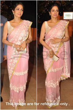 Sridevi in Beautiful Pink Manish Malhotra Designer Saree Manish Malhotra Saree, Lehenga Saree, Net Saree, Sari, Bollywood Sarees Online, Bollywood Designer Sarees, Fancy Sarees, Party Wear Sarees, Baby Pink Saree