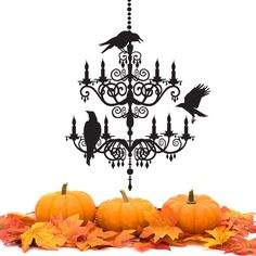 Spooky Chandelier decal - Vinyl Wall Sticker - Halloween decorations - ravens crows - WB711 by wordybirdstudios on Etsy https://www.etsy.com/listing/109040408/spooky-chandelier-decal-vinyl-wall