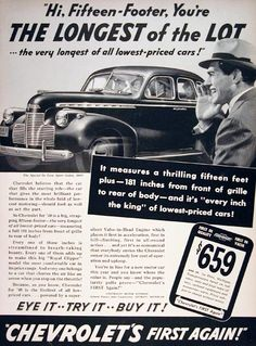 1940 Chevrolet Sport Deluxe Sedan original vintage ad. The longest of the lot, the Sport Sedan measures over 15 feet long from grille to rear, every inch the King of the low priced cars. From $659 delivered at Flint, Michigan; $802 for the Deluxe Sport model featured.