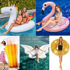 25 Style Giant Flamingo/Unicorn/Toucan/Swan/Pegasus Inflatable Pool Float Ride-On Mattress Water Party Toys For Adult Kids boia Water Party, Countries Around The World, Pool Water, Natural Disasters, Pegasus, Flamingo, Mobiles, Swan, Pools
