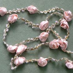 Antique French Pink Silk Satin Roses trim    1 yard