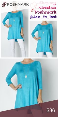 Turquoise 3/4 Sleeves A-Line Tunic Top  Small Turquoise 3/4 Sleeves A-Line Tunic Top  Fabric: 95% Rayon 5% Spandex.  FIT: Woman's size Small (2-4). True to size. No Trades ✅Reasonable Offers Are Considered✅ Use the blue offer button. Tops Tunics