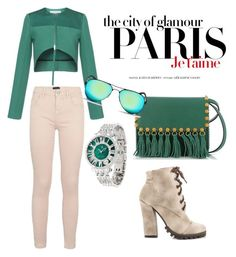 """""""Green love"""" by fashion-lover-263 ❤ liked on Polyvore featuring Valentino, Jonathan Saunders, Ray-Ban, Michael Antonio, Marciano, H&M and Judith Ripka"""