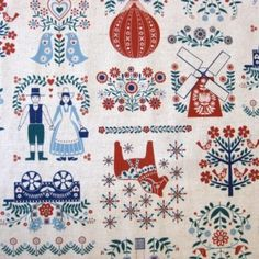 off-white canvas fabric with couple in traditional Durch costumes, windmill, balloon etc. Dutch Door, Modes4u, Kawaii, Japanese Fabric, Amazon Art, Windmill, Cute Designs, Letterpress, Red And Blue