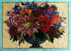 Mosaic Artists Gallery Pictures of Custom Kitchen Glass Tile Mosaic Backsplash installations in Residential Kitchens, Bathroom Murals, Mosaic Floors and Fireplace Surrounds by Artists Carl and Sandra Bryant
