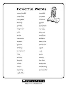 A List of More Descriptive Words for