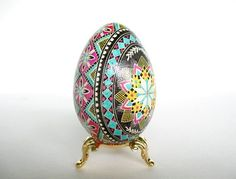 Pink and Turquoise Goose Egg, Green  Pysanka ukrainian Easter egg, decorated goose egg shell, batik eggs