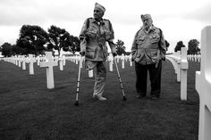 "Bill Guarnere and Babe Heffron in Normandy <3 ""The main reason we go to Europe is to visit the graves of our buddies, all the men we fought with and left behind (....) The cementeries are beautiful, lush green grass with white crosses about four feet high, as far as the eye can see. Some Stars of David, too. It's sad, but beautiful. It takes your breath away."" p.260 Brothers in Battle - Best of Friends by Bill Guarnere/Babe Heffron"