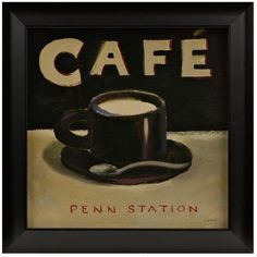 Coffee Spot I Framed Art Print ($5) ❤ liked on Polyvore featuring home, home decor, wall art, cafe wall art, framed wall art, glass wall art and glass home decor