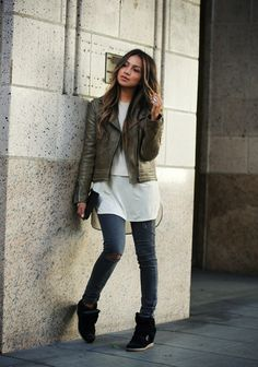 Moto leather jacket:Rag & BoneBlouse: COSJeans:PaigeSneakers:Isabel Marant(sincerelyjules)