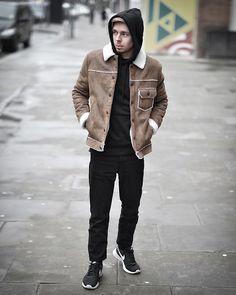 Get this look: http://lb.nu/look/8620513  More looks by Edgar Vanuska: http://lb.nu/edgar_vanuska  Items in this look:  Topman Beige Sheepskin Jacket, H&M Black Hoodie, Asos Black Denim Tapered Jeans, Nike Black Sneakers   #casual #street #vintage #urban #grunge #ootd #look #sheepskin #jacket