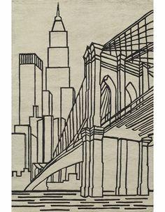 Hipster Ivory Brooklyn Bridge Rug