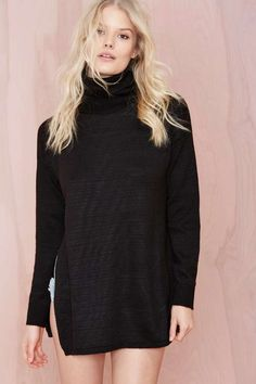 Nasty Gal Slit Second Turtleneck Sweater | Shop Sweaters at Nasty Gal