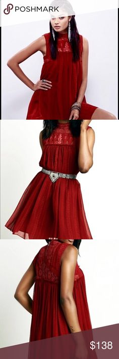 """Free people red chiffon lace beaded swing dress L Printed mini swing dress embroidered, lace and beaded with lace mock turtleneck. Exposed back zipper. Lined in red polyester. NWOT Size Large. Machine wash cold. Measurements 40 around bust, 52 around waist, and 34"""" long. 💃🏽 Beautiful for the holidays!! 💕💕💕🤗 Happy to accept offers, please use the offer button! Happy poshing☺️!!! Free People Dresses Midi"""