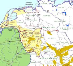 Germanic Tribes map - Saxones on Baltic; Langobards mid central; Frisii in Netherlands; Marcomanni south in north Italy/Alsace