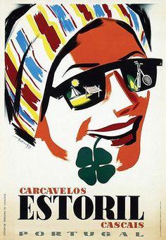 Estoril, Portugal vintage travel poster