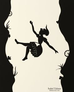 """From the artist: """"Handcut illustration (4 of 4) of Alice in Wonderland for a local charity event. """"The rabbit-hole went straight on like a tunnel for some way, and then dipped suddenly down, so suddenly that Alice had not a moment to think about stopping herself before she found herself falling down a very deep well."""""""""""