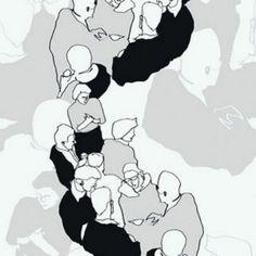 13001 - Marimekko Abstract People Black & Grey Galerie Wallpaper for sale online Wallpaper For Sale, T Wallpaper, Geometric Wallpaper, Marimekko, Black And White Drawing, Black And White Abstract, Galerie Wallpaper, Web Design, Design Repeats